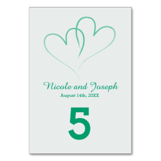 Two Hearts intertwined Table Number -Mint