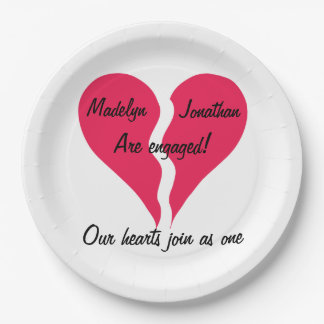 Two Hearts Join as One Name Personalized Engaged Paper Plate
