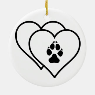 Two Hearts Love Dogs Footprint Track Logo Ceramic Ornament