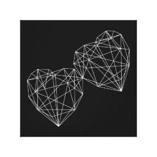 Two Hearts Love Geometric Minimal Art Canvas Canvas Print