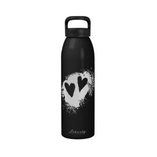 Two hearts love grunge custom water bottle