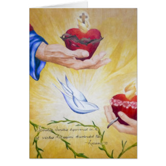 Two Hearts & Luke 1:35 Postage Card