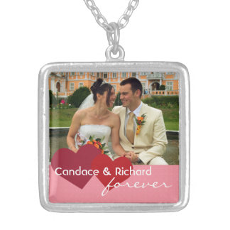 Two hearts meet custom photo red pink forever love square pendant necklace
