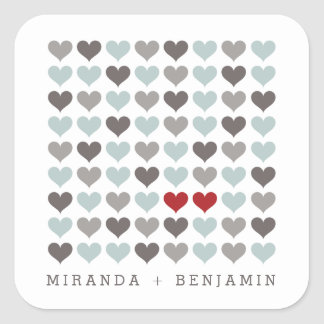 Two Hearts Modern Personalized Wedding Sticker Square Sticker