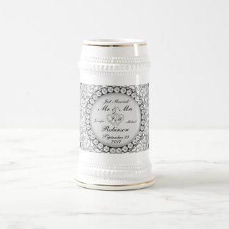 Two Hearts Monogram Wedding Pattern Beer Steins