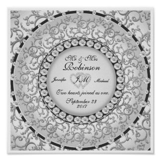Two Hearts Monogram Wedding Pattern Poster