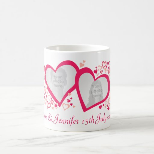 Two hearts name date wedding photo pink red mug
