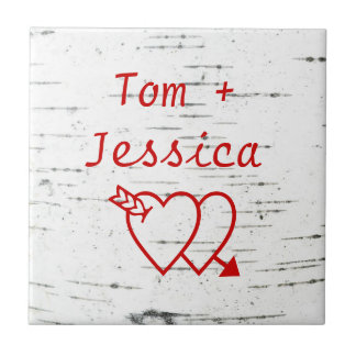Two hearts on a birch bark tile