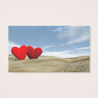 Two hearts on the beach - 3D render Business Card