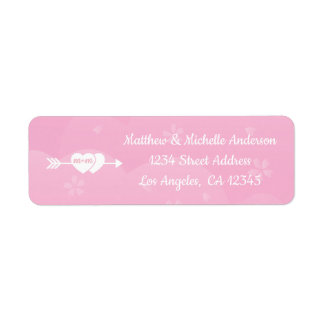 Two Hearts One Love Pink Cherry Blossoms Wedding Return Address Label