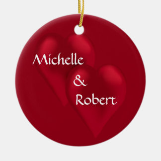 Two Hearts One Love Wedding Engagement Ornament
