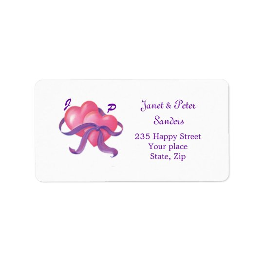 Two hearts, ribbon Monogram Return address label
