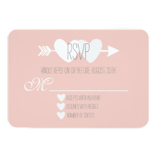 Two Hearts RSVP 9 Cm X 13 Cm Invitation Card