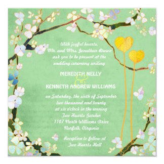 Two Hearts Rustic Pistachio Green Wedding Card
