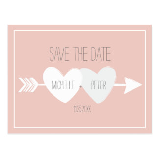 Two Hearts Save The Date Postcard
