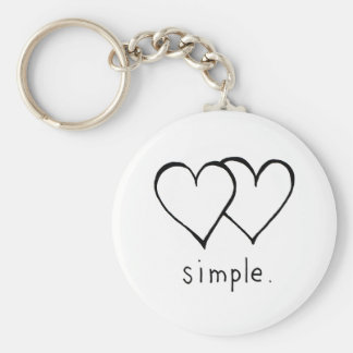 Two Hearts - Simple love - fresh line drawing art Key Ring