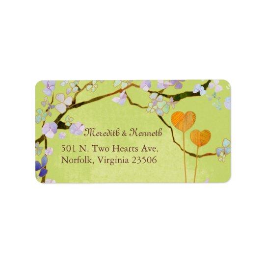 Two Hearts Spring Green Boho Wedding Address Label