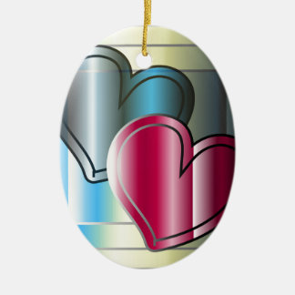 two hearts together and bright colored ceramic ornament