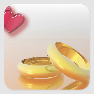 Two Hearts Two Rings Square Sticker