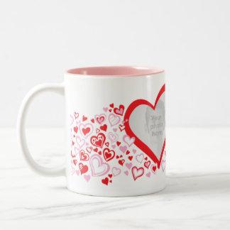Two hearts valentine / wedding photos red pink mug