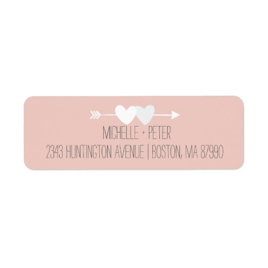 Two Hearts Wedding Return Address Label