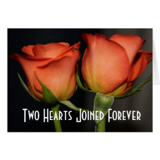 Two Hearts Wedding Roses Greeting Card