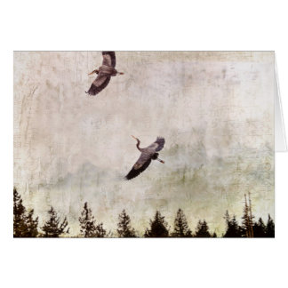 Two Herons Flying Photo Card