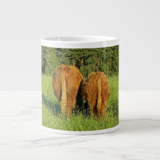 Two Highland Cattle Rears in Upper Austria Large Coffee Mug