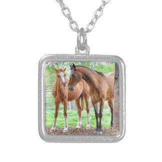 Two horse friends square pendant necklace