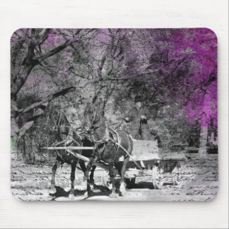 Two Horse Team Black and White With Purple Grunge Mouse Pad