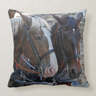 Two horses. Blonde and brunette. Cushion