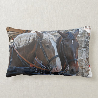 Two horses. Blonde and brunette. Lumbar Cushion