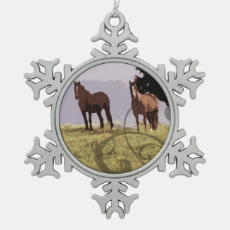 Two Horses Country Snowflake Pewter Christmas Ornament