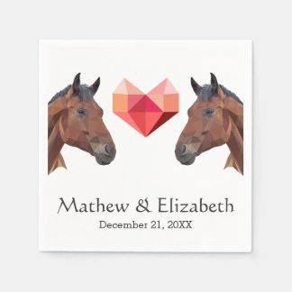 Two Horses | Custom Romantic Wedding Paper Serviettes