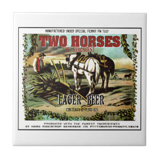 TWO HORSES IMAGINARY BEER SMALL SQUARE TILE