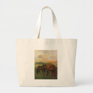 Two Horses in a Pasture by Edgar Degas Jumbo Tote Bag