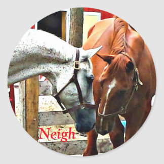 Two Horses Making Friends Round Sticker