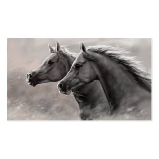 Two Horses Painting Gift Black Stallions Double-Sided Standard Business Cards (Pack Of 100)