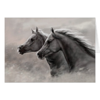 Two Horses Painting Gift Black Stallions Stationery Note Card