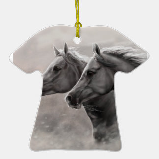 Two Horses Painting Gift Black Stallions Double-Sided T-Shirt Ceramic Christmas Ornament