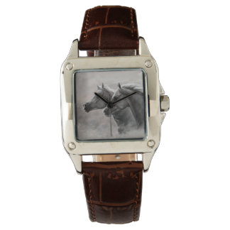 Two Horses Painting Gift Black Stallions Wristwatch