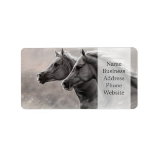 Two Horses Painting Gift Black Stallions Address Label