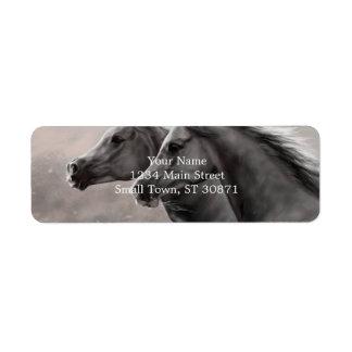 Two Horses Painting Gift Black Stallions Return Address Label