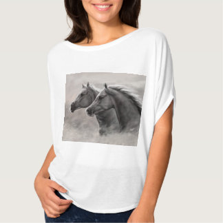 Two Horses Painting Gift Black Stallions Tee Shirt
