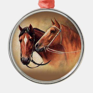 Two Horses round ornament