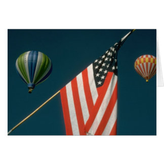 Two Hot Air Baloons W/ American Flag Card