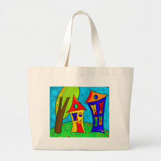 Two houses large tote bag