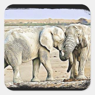 Two Hugging Elephants Stickers