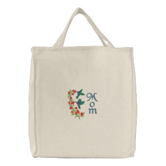 Two Hummingbirds for Mom Embroidered Bag