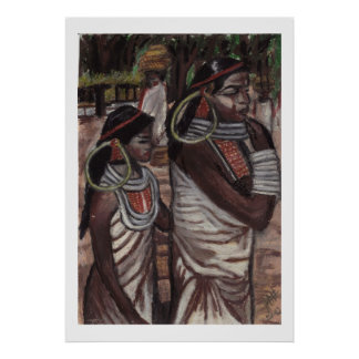 Two Indian maidens in costume Poster
